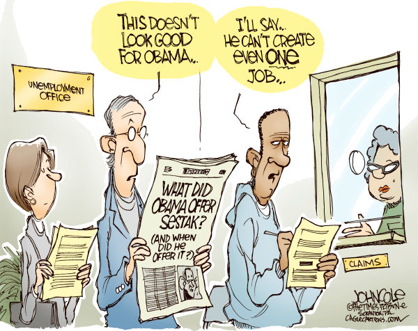 John Cole - The Scranton Times-Tribune - Sestak job offer COLOR - English - sestak, obama, specter, unemployment
