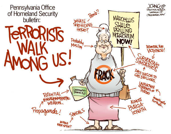 PA Homeland Security Bulletin Color © John Cole,The Scranton Times-Tribune,Homeland Security, PA, little old lady, terrorist