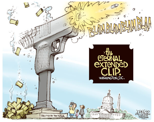 NRA Memorial COLOR © John Cole,The Scranton Times-Tribune,nra, guns, glock, 19, extended clip, giffords, congress, national rifle association, second amendment, gun rights, laws, crime