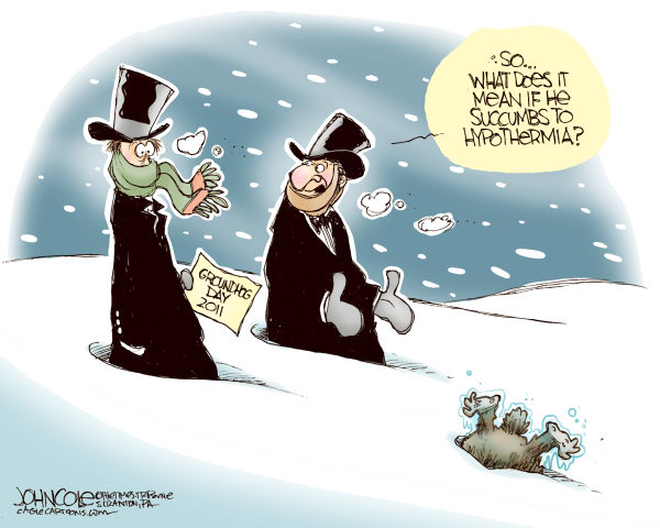John Cole - The Scranton Times-Tribune - Frozen groundhog COLOR - English - weather,winter,snow,ice,blizzard,groundhog day,climate