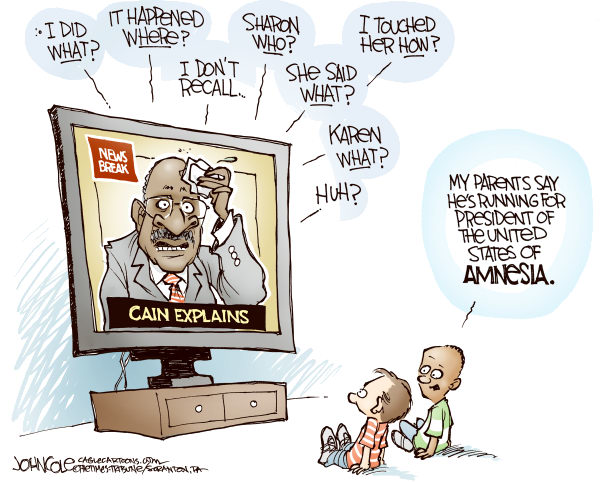John Cole - The Scranton Times-Tribune - Cain amnesia COLOR - English - HERMAN, CAIN, SEXUAL, HARASSMENT, GOP, NOMINATION