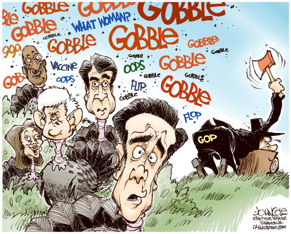 John Cole - The Scranton Times-Tribune - GOP turkeys COLOR - English - gop, cain, romney, bachmann, gingrich, perry, 2012 election, thanksgiving