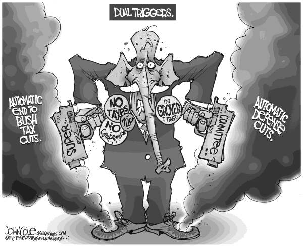 John Cole - The Scranton Times-Tribune - Dual trigger cuts BW - English - supercommittee, gop, automatic, trigger, cuts, defense, tax, bush