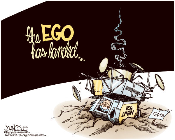 John Cole - The Scranton Times-Tribune - The Ego Has Landed COLOR - English - newt gingrich, gingrich, newt, florida, primary, gop, 2012