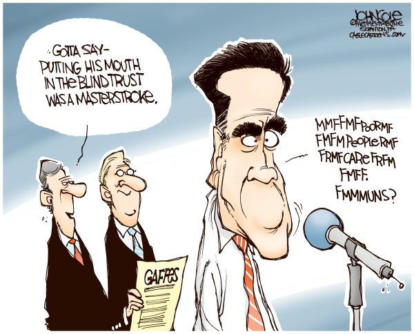 Mitts Mouth COLOR © John Cole,The Scranton Times-Tribune,MITT ROMNEY, GOP, GAFFES, POOR PEOPLE, FIRE PEOPLE
