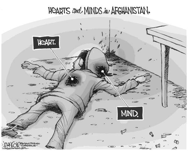 John Cole - The Scranton Times-Tribune - Afghan hearts and minds BW - English - afghanistan, war, us military, shootings, quran, barack obama, taliban
