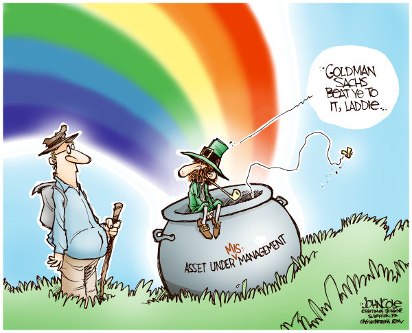 John Cole - The Scranton Times-Tribune - Pot of Goldman Sachs COLOR - English - goldman sachs, wall street, st patricks day, banks, investing, financial
