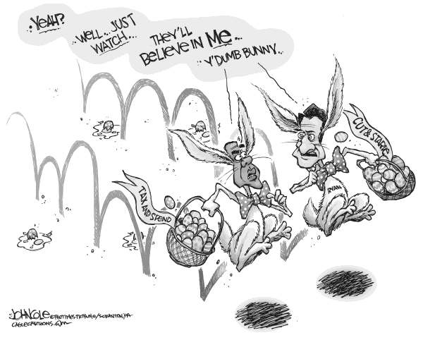 John Cole - The Scranton Times-Tribune - Obama and Ryan BW - English - obama, paul ryan, ryan, budgets, taxes, spending, entitlements, defense, military, easter, bunny, deficit, national debt