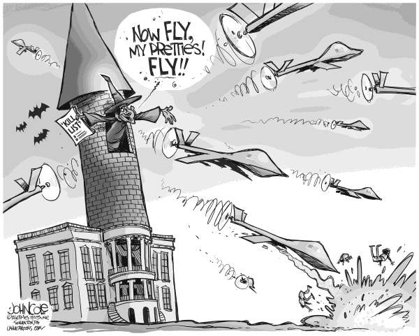 John Cole - The Scranton Times-Tribune - Obama Kill List BW - English - obama, kill list, drones, drone, terror, terrorist, al qaida