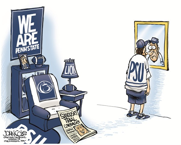 Penn State and Sandusky © John Cole,The Scranton Times-Tribune,PENN STATE, SANDUSKY, TRIAL, PEDOPHILE, FOOTBALL, FANS