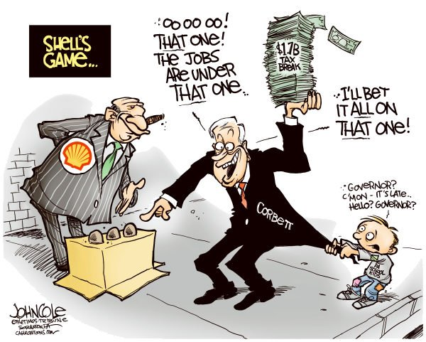 113569 600 LOCAL PA    Corbett and Shell tax break cartoons