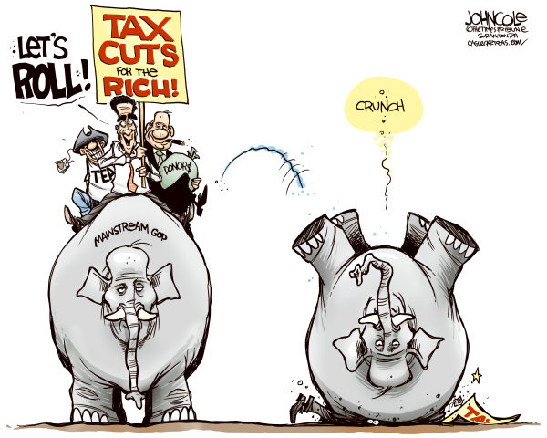 John Cole - The Scranton Times-Tribune - Tax cuts and the GOP COLOR - English - ROMNEY, GOP, TAX CUTS, TEA PARTY, POLL, OPINION, MAINSTREAM, VOTERS, WASHINGTON POST, BLOOMBERG