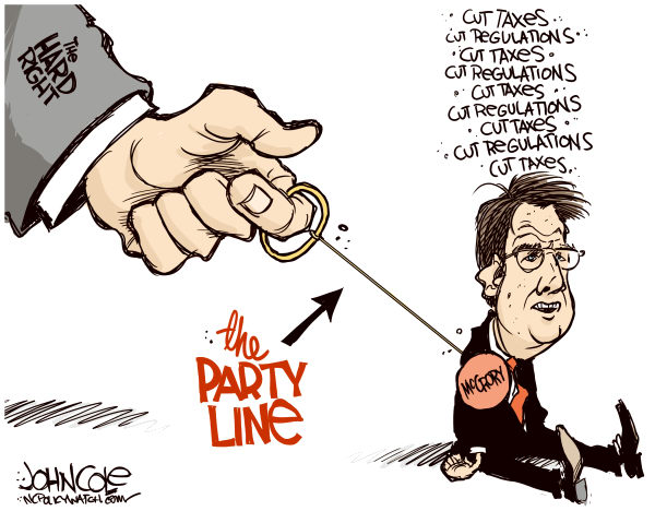 115215 600 LOCAL NC    McCrory and the party line cartoons