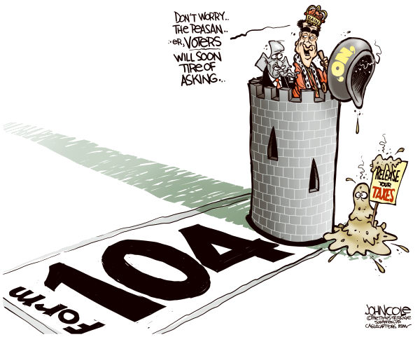 John Cole - The Scranton Times-Tribune - Romney tax returns COLOR - English - ROMNEY, TAX RETURNS, 2012 ELECTIONS, GOP, BAIN, WALL STREET