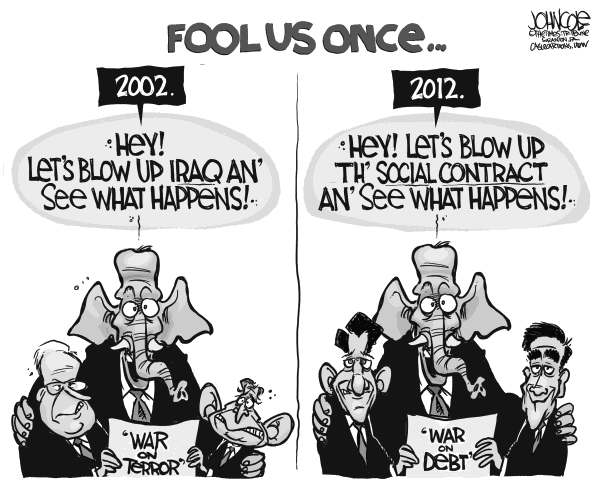 John Cole - The Scranton Times-Tribune - GOP and social contract BW - English - gop, medicare, social security, taxes, rich, poor, middle class, class war, paul ryan, mitt romney,