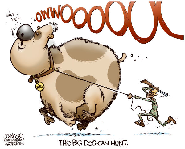 John Cole - The Scranton Times-Tribune - The Big Dog can hunt COLOR - English - bill clinton, barak obama, dnc, convention, nomination