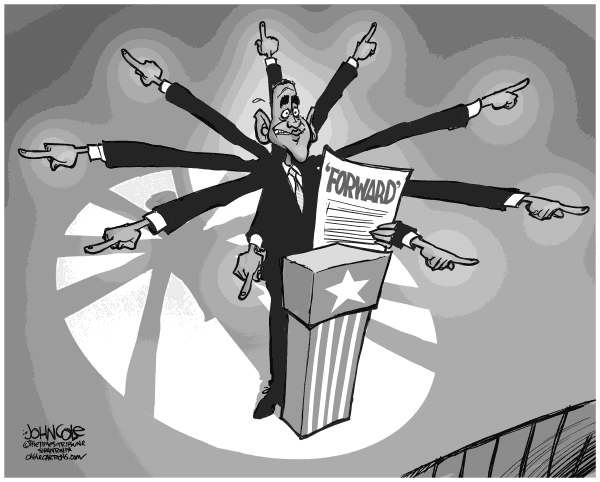 John Cole - The Scranton Times-Tribune - The Ways Forward BW - English - obama, barak obama, dnc, nomination, economy, unemployment, recovery, democrats