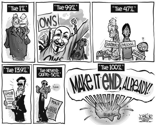 John Cole - The Scranton Times-Tribune - the 100 Percent BW - English - 47 percent, 1 percent, 99 percent, romney, obama, taxes, polls, wall street, occupy wall street, ows,