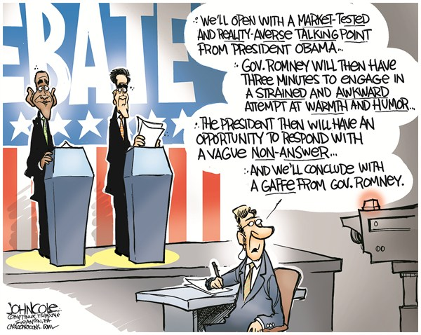 John Cole - The Scranton Times-Tribune - Obama Romney debate COLOR - English - PRESIDENTIAL DEBATE,OBAMA,ROMNEY,GAFFES,ECONOMY,Romney and Obama Debate