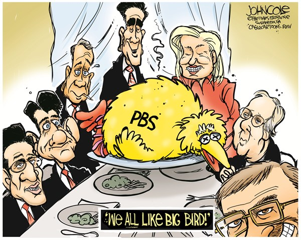 John Cole - The Scranton Times-Tribune - Romney and Big Bird COLOR - English - romney,debate,pbs,big bird,GOP,PBS Problems