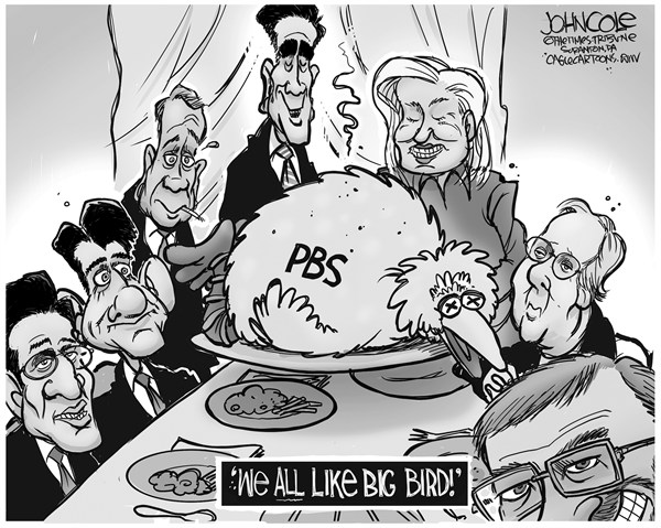 John Cole - The Scranton Times-Tribune - Romney and Big Bird BW - English - romney, debate, pbs, big bird, GOP
