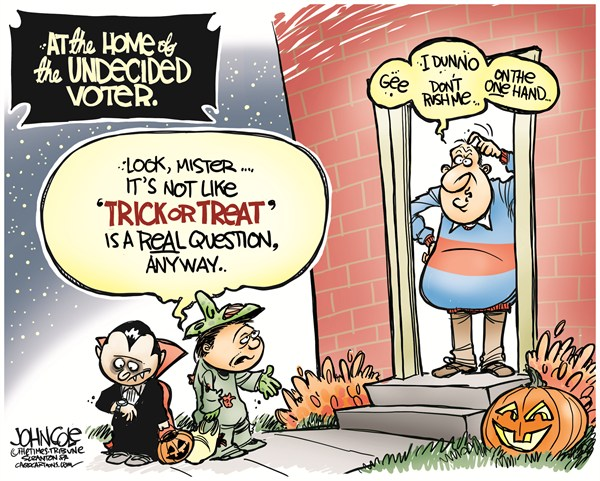 John Cole - The Scranton Times-Tribune - Undecided voter halloween COLOR - English - 2012 election,romney,obama,undecided voter,gop,democrats,halloween