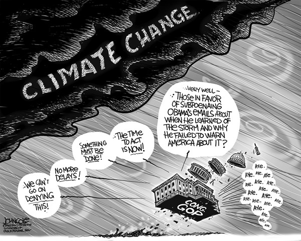 John Cole - The Scranton Times-Tribune - GOP and climate change BW - English - climate change, top, frankenstorm, hurricane sandy, global warming