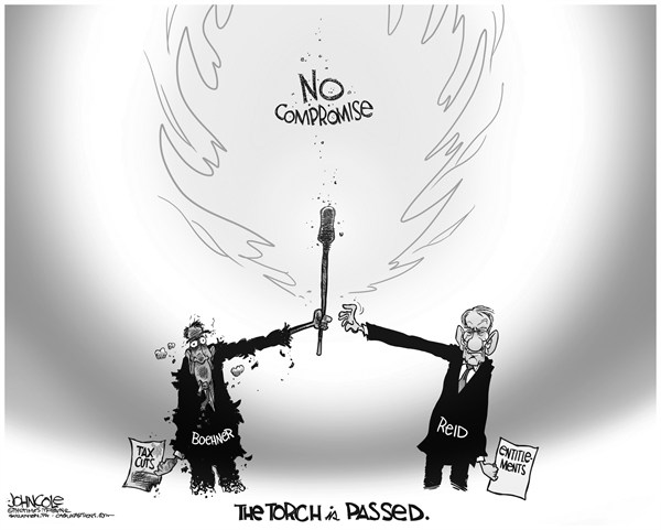 John Cole - The Scranton Times-Tribune - The torch is passed BW - English - harry reid, john boehner, congress, gop, tea party, democrats, republicans, entitlements, taxes, tax cuts, medicare, social security, fiscal cliff