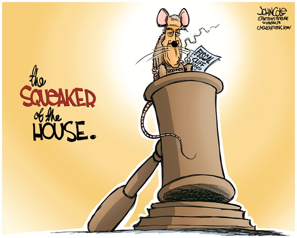 John Cole - The Scranton Times-Tribune - Boehner the Squeaker COLOR - English - BOEHNER, JOHN BOEHNER, TEA PARTY, GROVER NORQUIST, FISCAL CLIFF, US HOUSE, GOP