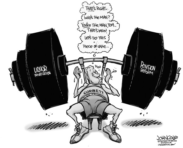 John Cole - The Scranton Times-Tribune - loCAL PA -- Corbett and PLCB pensions BW - English - tom corbett, pennsylvania, pensions, plcb, liquor, privatization