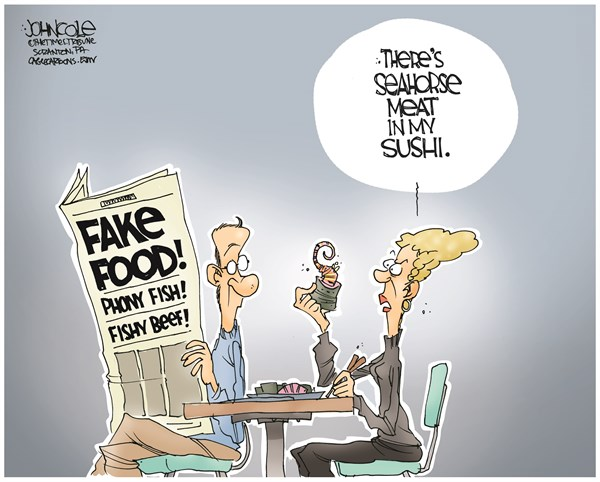 John Cole - The Scranton Times-Tribune - Fishy food COLOR - English - food, food safety, horse meat, beef, fish, food labeling