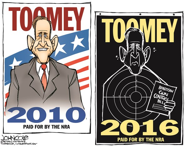 John Cole - The Scranton Times-Tribune - Toomey and the NRA COLOR - English - pat toomey, GOP, toomey-manchin, gun control, guns, NRA, 2016, elections