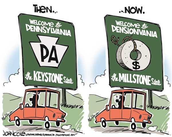John Cole - The Scranton Times-Tribune - LOCAL PA -- The Millstone State COLOR - English - pennsylvania, public-sector, pension crunch, pensions, teachers, state workers, tom corbett