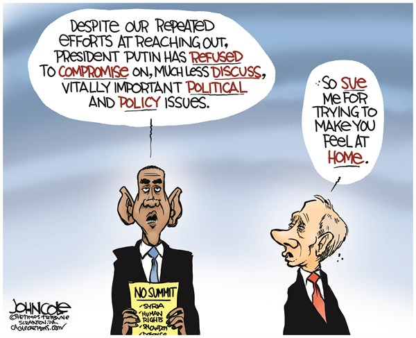 John Cole - The Scranton Times-Tribune - Obama and Putin COLOR - English - Obama, Putin, Russia, Snowden, Syria, human rights, summit