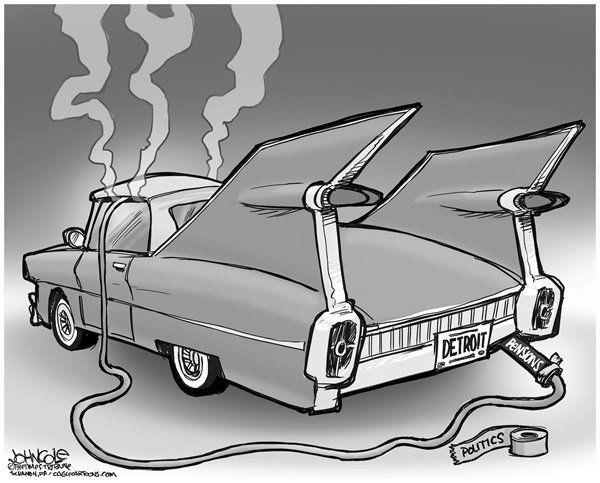 John Cole - The Scranton Times-Tribune - Detroit BW - English - Detroit, bankruptcy, auto industry, pensions, unions