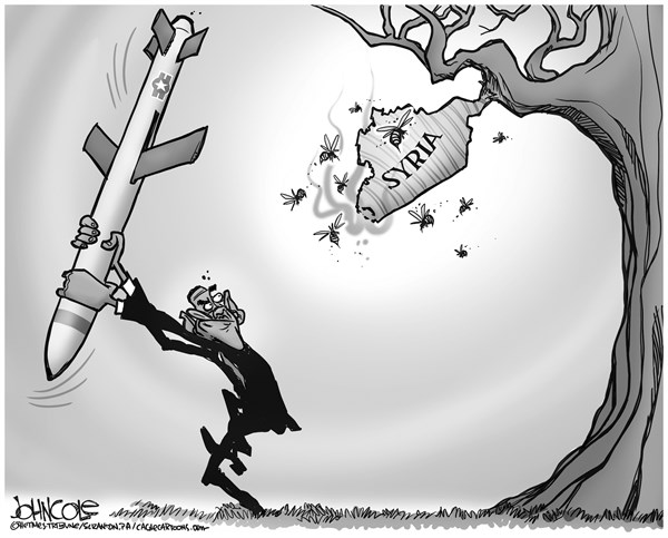 John Cole - The Scranton Times-Tribune - Obama and Syria BW - English - Syria, war, intervention, cruise missile, Assad, middle east, arab spring