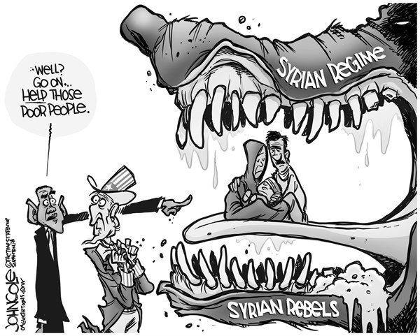 John Cole - The Scranton Times-Tribune - Syrian jaws BW - English - Barack Obama, Syria, chemical weapons, al qaida, intervention