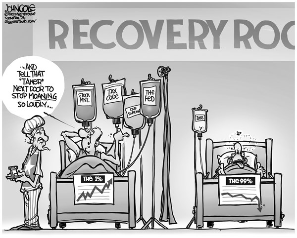 John Cole - The Scranton Times-Tribune - Economic recovery room BW - English - the rich, the one percent, 1 percent, 99 percent, recovery, unemployment, wall street, stock market, the fed, taxes, entitlements