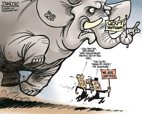 John Cole - The Scranton Times-Tribune - Boehner and Cantor lead COLOR - English - john boehner, eric cantor, GOP, tea party, government shutdown, debt ceiling, default, obamacare, congress