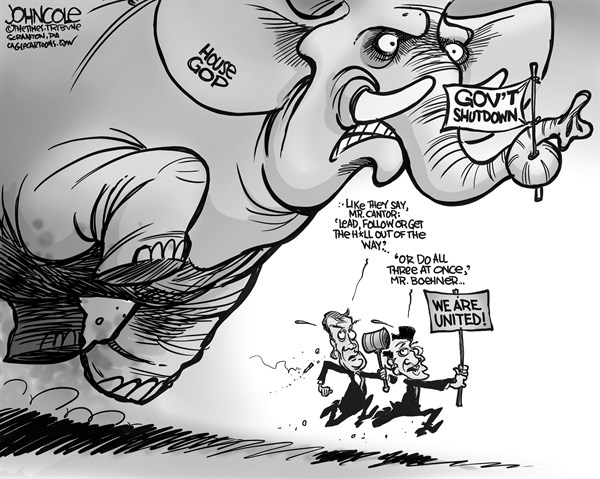 John Cole - The Scranton Times-Tribune - Boehner and Cantor lead BW - English - john boehner, eric cantor, GOP, tea party, government shutdown, debt ceiling, default, obamacare, congress