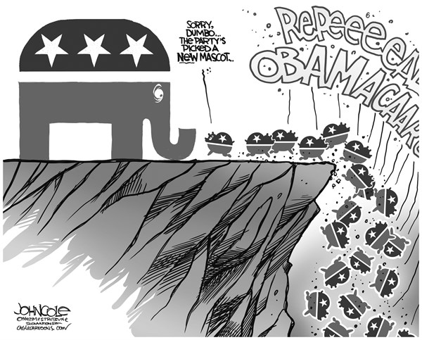 John Cole - The Scranton Times-Tribune - Elephants and lemmings BW - English - GOP, obamacare, debt ceiling, john boehner, ted cruz, tea party, ACA, government shutdown
