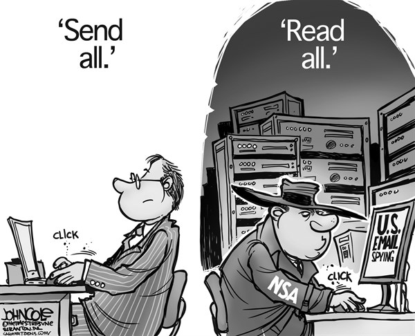John Cole - The Scranton Times-Tribune - NSA email snooping BW - English - NSA, emails, espionage, Edward Snowden, spying