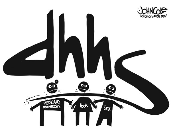 John Cole - ncpolicywatch.com - LOCAL NC -- DHHS logo BW - English - North Carolina, DHHS, Aldona Wos, Pat McCrory, medicaid, GOP