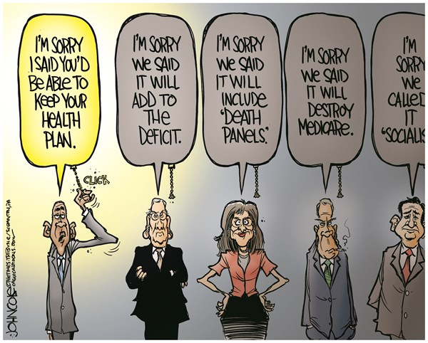 John Cole - The Scranton Times-Tribune - Obama is sorry COLOR - English - obamacare, aca, rollout, health insurance, sorry, GOP, Sarah Palin, John Boehner, Mitch McConnell, Ted Cruz, tea party