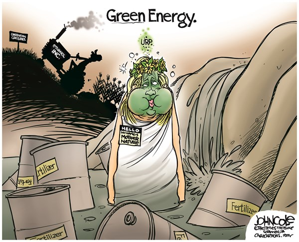 John Cole - The Scranton Times-Tribune - Green Energy COLOR - English - Ethanol, bio-fuels, agribusiness, agriculture, pollution