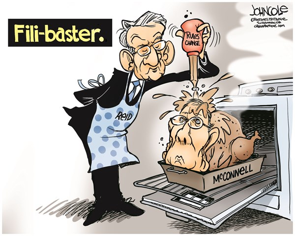 John Cole - The Scranton Times-Tribune - The Fili-Baster COLOR - English - GOP, Democrats, filibuster, nuclear option, courts, judgeships, Mitch McConnell, Harry Reid