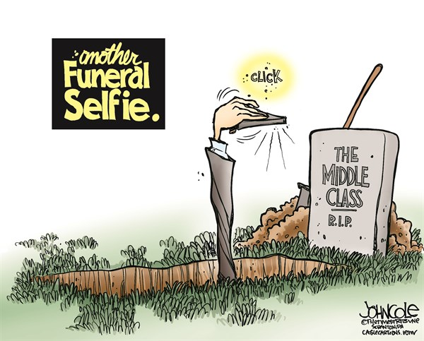 John Cole - The Scranton Times-Tribune - Funeral selfie COLOR - English - selfie, funeral, social media, instagram, smart phone, camera phone, Barack Obama