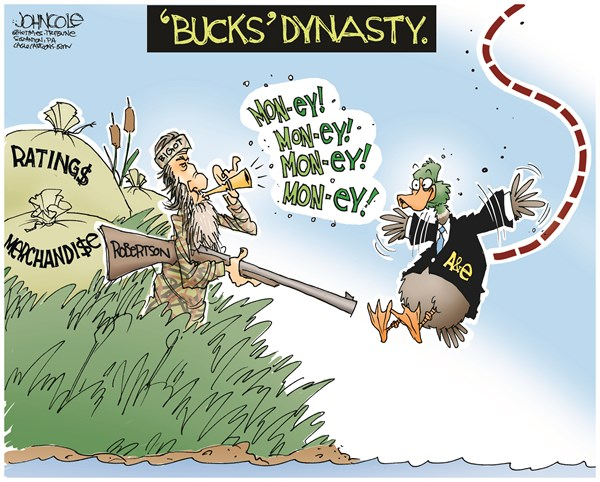 John Cole - The Scranton Times-Tribune - Bucks Dynasty COLOR - English - Phil Robertson, duck dynasty, AE, reality TV, gay rights, homophobia, jim crow, race