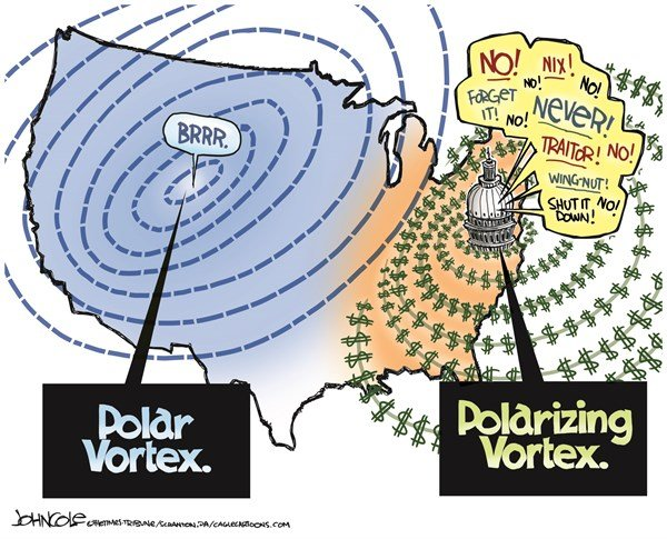 John Cole - The Scranton Times-Tribune - Polarizing vortex COLOR - English - climate change, polar vortex, partisanship, campaign financing, citizens united, GOP, democrats, congress, tea party, republicans