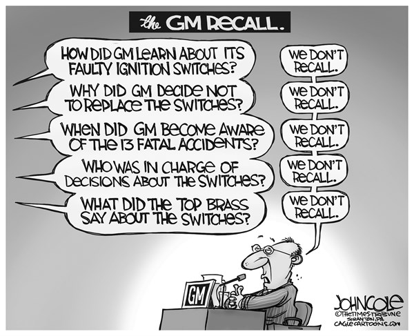 John Cole - The Scranton Times-Tribune - GM Recall BW - English - GM, General Motors, recall, ignition switches, cobalt